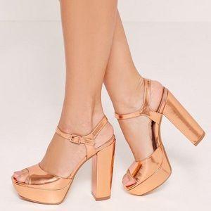 Missguided Rose Gold Retro Platform Heels